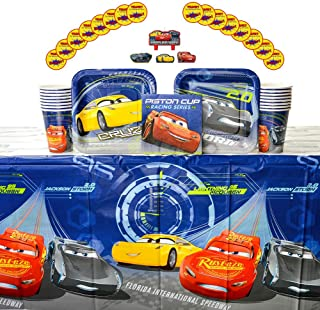 Cars 3 Party Supplies Pack for 16 Guests - Stickers, Candles, Dessert Plates, Beverage Napkins, Cups, and Table Cover