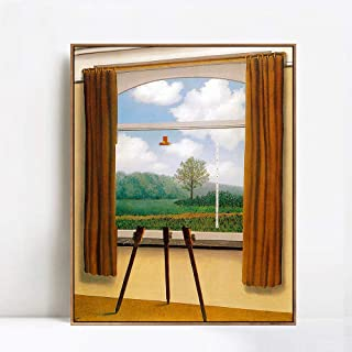 INVIN ART Framed Canvas Giclee Print Art The Human Condition by Rene Magritte Wall Art Living Room Home Office Decorations(Wood Color Slim Frame,24