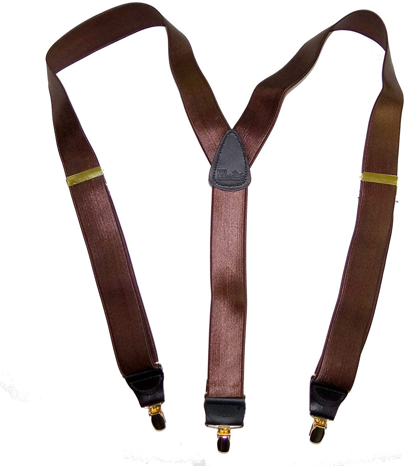 Hold-Ups Brown Satin Finished Corporate Series Suspenders, Y-back and Gold Clips