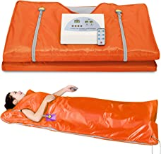Sauna Blanket, Professional Far-Infrared Heat Sauna Heating Blanket with 50pcs Plastic Sheetings, 2 Zone Controller, Anti Ageing Beauty Machine for Body Shape Slimming Detox Sp (Upgraded Orange)