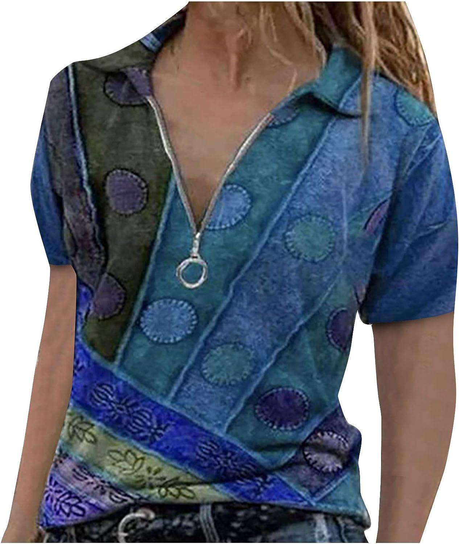 Tops for Women, Women's Summer Retro Zipper V-Neck Polo Shirts Gradient Printed Blouse Short Sleeve Shirt Tunic Tops