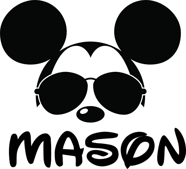 Mickey Mouse Face With Glasses Custom Personalized Family Name Wall Decals Wall Design Stickers Vinyl Removable Children Kids Rooms Girls Boys Baby Nursery Cartoon Size 20x20 Inch