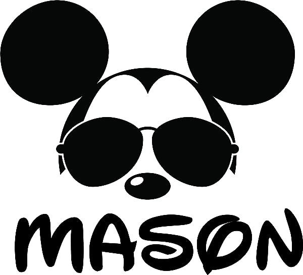 米老鼠脸带眼镜定制个性化姓氏墙贴花墙设计贴纸乙烯基可移除儿童儿童房女孩男孩婴儿幼儿园卡通尺寸 20x20 英寸
