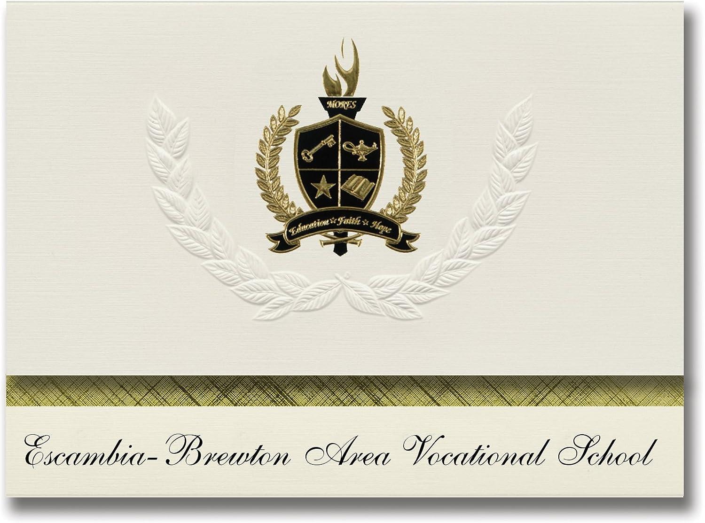Signature Announcements Escambia-Brewton Area Berufsschule (Brewton, AL) Schulabschlussankündigungen, Präsidential-Grundpaket 25 mit Goldfarbenen und schwarzen metallischen Folienversiegelung B0795W9FWF | Deutschland Shops