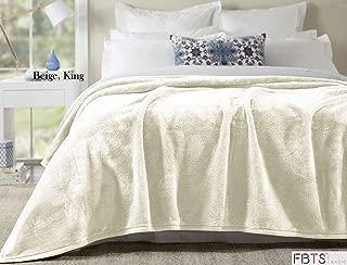 FBTS Basic Flannel Fleece Luxury Blanket King Size Beige Lightweight Cozy Plush Microfiber Solid Blanket