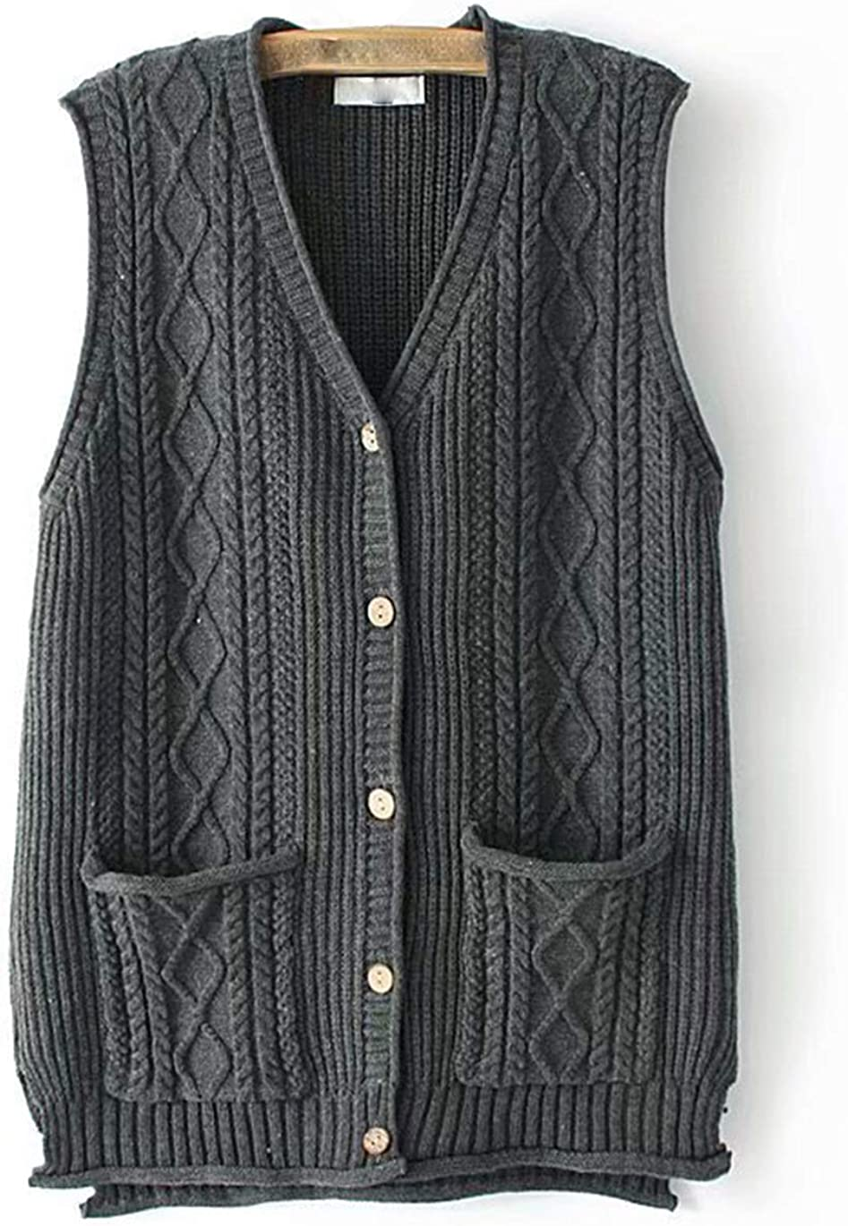 Haellun Womens Casual Loose Sweater Vest Button Down Cable Knit Cardigan Outwear