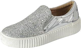 Cambridge Select Women's Slip-On Closed Round Toe Glitter Platform Flatform Creeper Sneaker