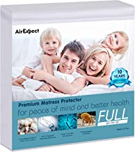 """Waterproof Mattress Protector Full Size - AirExpect 100% Organic Cotton Hypoallergenic Breathable Mattress Pad Cover, 18"""" Deep Pocket, Vinyl Free - 54""""x75 """""""