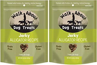 WalkAbout 2 Pack of Alligator Jerky Treats for Dogs, 5.5 Ounces Per Pack