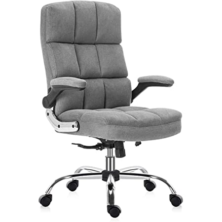 SEATZONE High Back Velvet Home Office Chair with Swivel, Executive Computer Desk Chair with Adjustable Back Tilt and Flip-up Armrest, Comfy Thick Padding Ergonomic Office Chair (Grey)