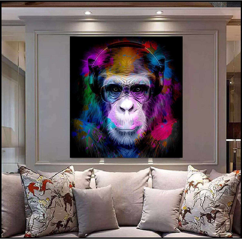 N/A Pintura de la Lona Animal de Gran tamaño Mono Divertido con Pistola Graffit Arte Lienzo Pintura Pared Arte Carteles e Impresiones en la decoración del hogar de la Sala de estar-40x40cm