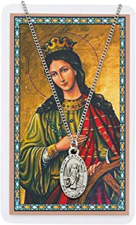 Oval St. Catherine of Alexandria Medal with Prayer Card