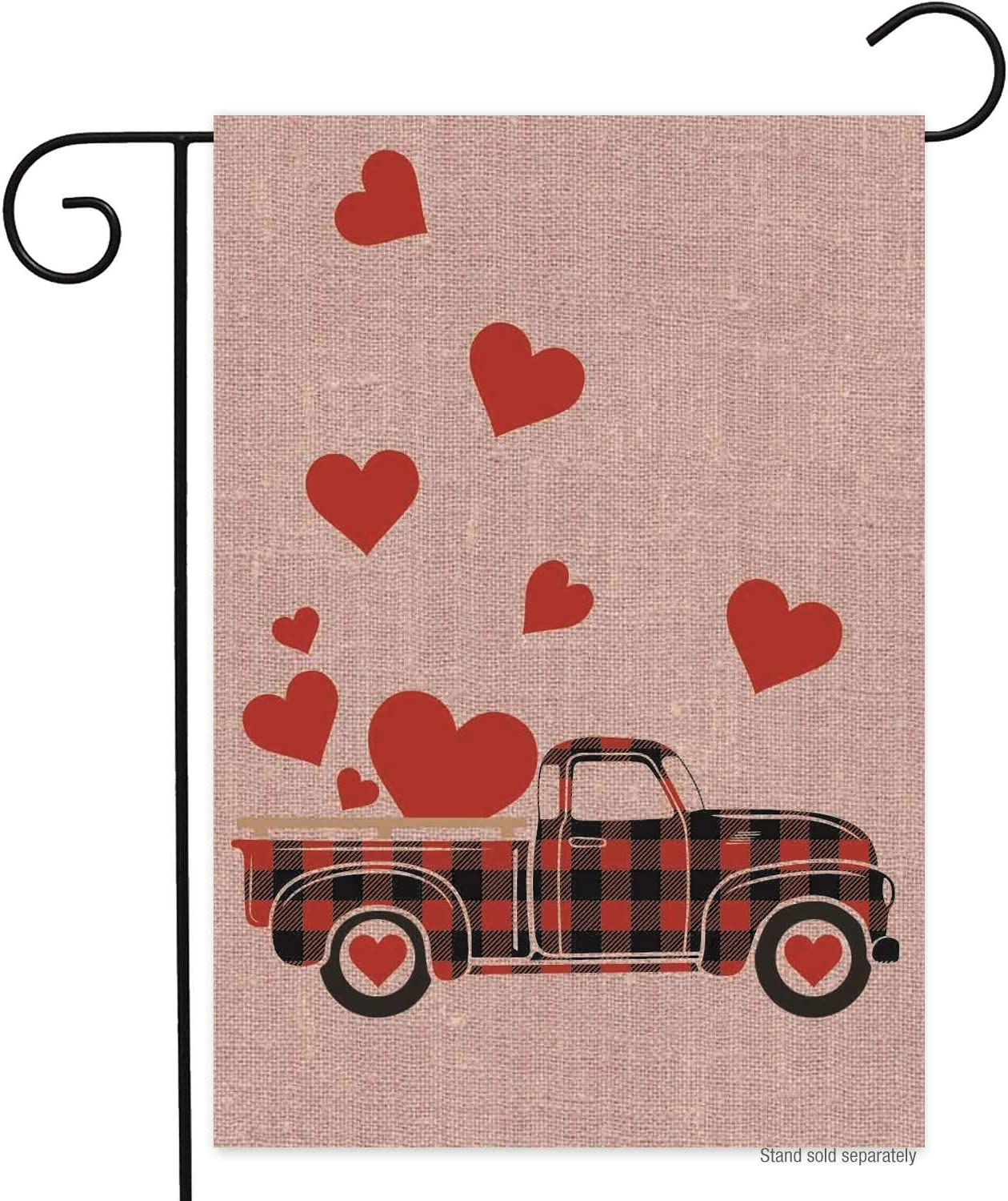 Happy Valentines Day Truck Garden Flag Red Buffalo Plaid 12 x 18 Double Sided Love Heart Truck Valentines Burlap Garden Yard Flags for Valentine's Day Decor Yard Outdoor Decoration