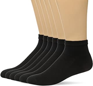 Hanes Men's 6 Pack FreshIQ Full Cushion Ankle Socks (BIG Shoe Size: 12-14, Black)