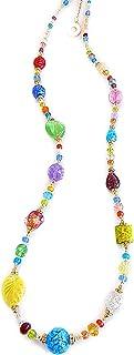 VENEZIA CLASSICA - Collana da Donna lunga con perle in Vetro di Murano Originale, Collezione Ginger, multicolor con foglia...