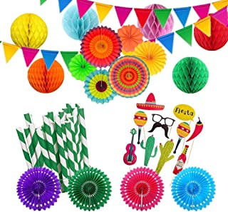Fiesta Party Decorations kit Mexican Supplies Honeycomb Balls Paper Fans Decoration Supply Coco Party Pennant Banner for Cinco De Mayo Birthday Wedding