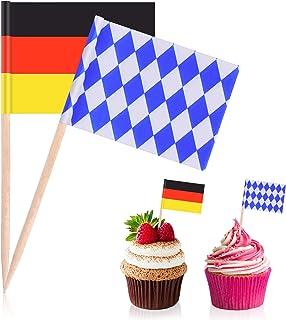 Blulu 100 Pieces Oktoberfest Picks Party Accessory, Disposable Bavarian Flag Cupcake Topper Decoration Oktoberfest Theme P...