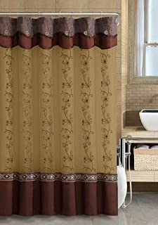 GoodGram VCNY Luxurious Daphne Embroidered Sheer & Taffeta Fabric Shower Curtains by Assorted Colors (Chocolate)