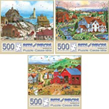 Bits and Pieces - Value Set of 3 500 Piece Jigsaw Puzzles for Adults - Each Puzzle Measures 18 Inch x 24 inch - 500 pc Beach Belles, Til The Cows, Hens and Chicks Jigsaws by Artist Mary Ann Vessey