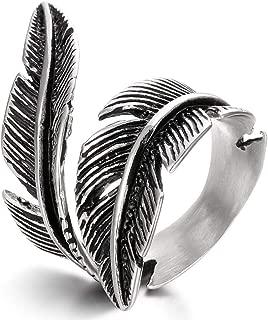 FIBO STEEL Stainless Steel Rings for Men Women Biker Ring Vintage Feather, Size 7-13