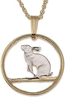 Snowshoe Rabbit Pendant & Necklace, Canada Five Cents Coin Hand Cut
