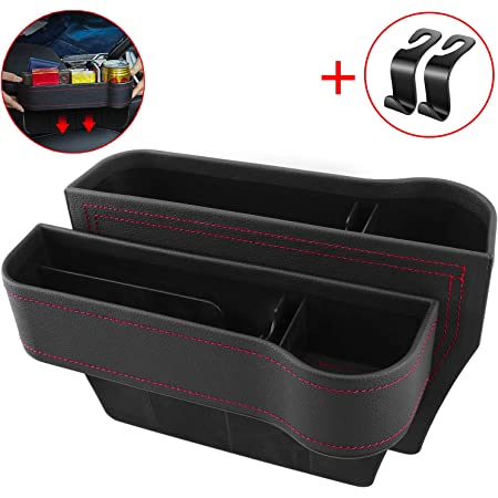 durch Car Seat Gap Filler Multifunctional Car Seat Organizer with Cup Holder PU Leather Seat Console Side Pocket Storage Box for Cellphones Wallet Coin Key Black, 1 Pack
