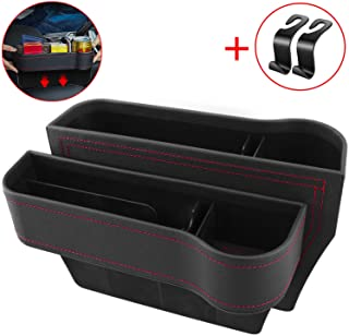 Vooteen Car Seat Gap Filler, Seat Gap Filler with Cup Holder, Car Seat Organizer, PU Leather Seat Console Organizer Pocket, Pack of 2