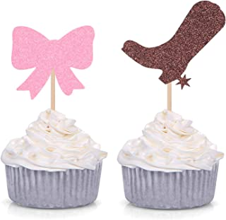 Pack of 24 Glitter Boots or Bows Gender Reveal Cupcake Toppers Party Picks Decorations (Brown and Pink)