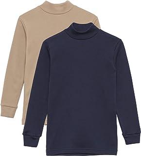 Camiseta Térmica Interior Niños Cuello Medio Alto Semi Cisne Manga Larga Colores Lisos. Pack de 2 Camisetas