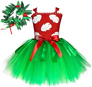 O'COCOLOUR Hawaiian Princess Dress for Girls with Tropical Fern Leaf Headband Birthday Party Gifts 3t 4t 6t 8t 9t 12t