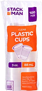 Stack Man PP3-100 Premium Disposable Cups, 3 Ounce, Clear - Translucent