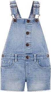 OshKosh B'Gosh Toddler Girls' Raw Hem Denim Shortalls with Adjustable Shoulder Straps Size 4T