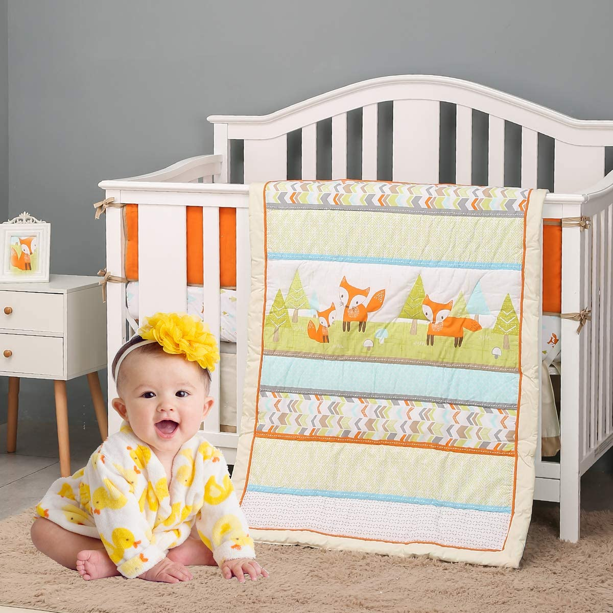 Brandream Year-end gift Playful Fox Crib Bedding Set Girl Boy Baby and for Min Large special price !!