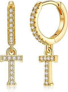 Initial Earrings for Girls Women, 925 Sterling Silver Post Hypoallergenic Small Huggie Hoop Earrings Gold Plated Cubic Zir...