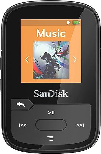 SanDisk 16GB Clip Sport Plus MP3 Player, Black - Bluetooth, LCD Screen, FM Radio - SDMX28-016G-G46K