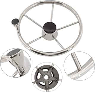 """NovelBee 5 Spoke Dia.15-1/2"""" Stainless Steel Boat Steering Wheel with Control Knob and Cap"""
