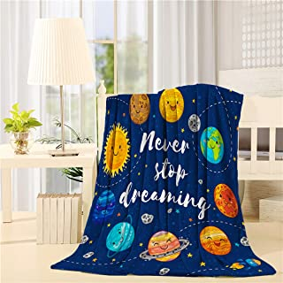 Plush Throw Blanket 40x50 inches Quote Outer Space Bed Blanket Soft Warm Blankets for All Seasons, Lightweight Travelling Camping Throw Size for Kids Adults, Planets and Star Cluster Solar System