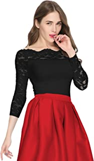 Women's Off Shoulder Long Sleeves Floral Lace Twin Set Top