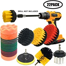 JOQINEER 22 Pieces All Purpose Drill Brush Attachment Set with Extend Long for Bathroom Shower Scrubbing, car Detailing kit,Toilet Scrubber,Tile Scrubber,Corners,Household Kitchen Cleaning