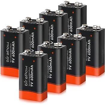 Amazon Com Girapow 9v Lithium Batteries 8 Count 600mah 9 Volt