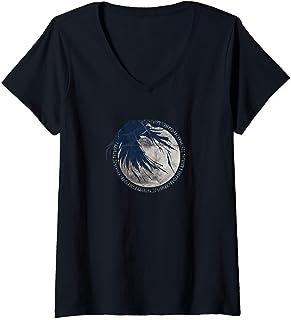 Femme Corbeau Lune Runes Mythologie nordique Viking Germanique T-Shirt avec Col en V