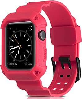 Camyse Compatible Apple Watch Band 38mm Case, Shockproof Rugged Protective Cover with Bands Stainless Steel Clasp for iWatch Apple Watch Series 3,2, 1 Sport Edition for Men Women Grils Boys - Pink