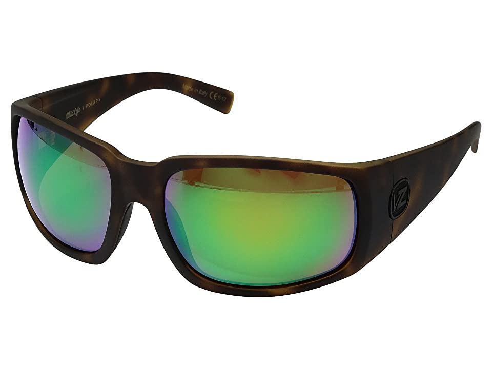 VonZipper Palooka Polarized (Tortoise Satin/Wild Green Chrome Polar Plus) Sport Sunglasses
