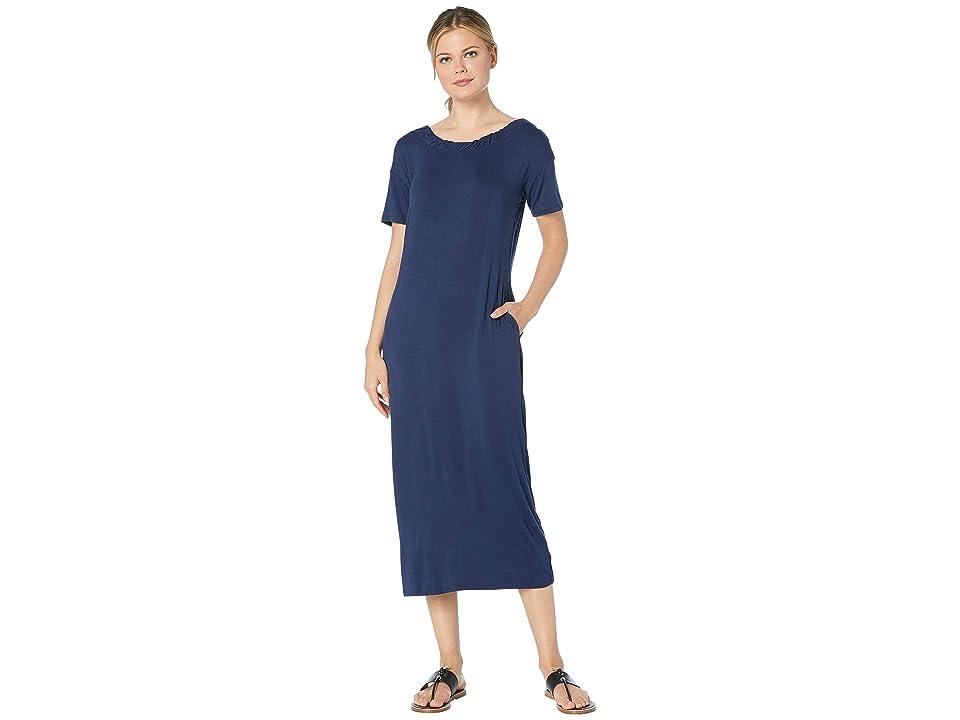 Bobeau Cinched Back Maxi Dress w/ Pockets (Navy) Women