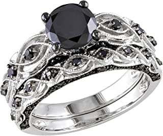 1.23 Carat (ctw) Black Diamond Engagement Ring and Wedding Band Set in 10K White Gold