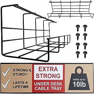Bandeja Organizadora Cables para Debajo de la Mesa o Escritorio – Organiza sin Nudos los Cables de tu Ordenador – Juego de 2 Bandejas Negras Metálicas – Para Hogar u Oficina (Negro - Set de 2)