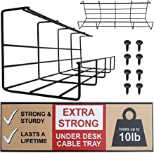 Under Desk Cable Tray - Super Sturdy Cable Organizer for Wire Management. Metal Wire Cable Tray for Office, Studio and Home (Black, 2x16'')