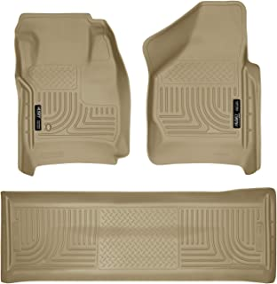 Husky Liners Fits 2008-10 F-250/F-350/450 Crew Cab without Manual Transfer Case Shifter Weatherbeater Front & 2nd Seat Floor Mats (Footwell Coverage)