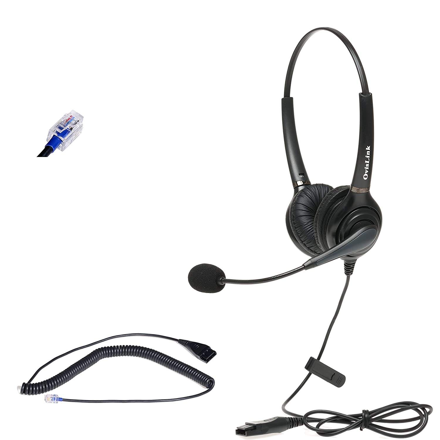 OvisLink Call Center Headset Compatible with Polycom Phone with RJ9 Headset Jack | Dual Ear Headset with Noise Canceling Microphone Quick Disconnect Cord | HD Voice Quality | Tangle Free Headset Cord