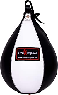 Pro Impact Speedbag Black - Heavy Duty Leather Hanging Swivel Punch Ball for Boxing MMA Muay Thai Fitness or Fighting Sport Training - PU and Genuine Leather